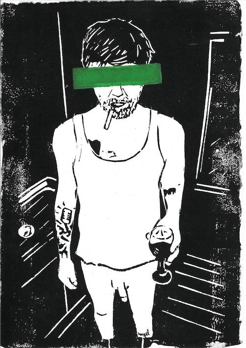 Linoldruck: Mann mit Zigarette 7 (2. Auflage, Balken grün)