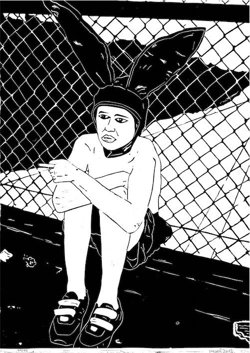 Linoldruck: Bunny Boy mit Zigarette MIT RAHMEN
