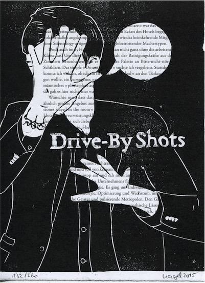 Linoldruck: Drive-By Shots (auf Buchseite)