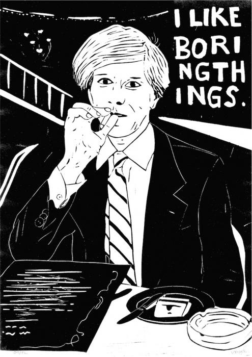 Linoldruck: Mann mit Zigarette 21 MIT RAHMEN