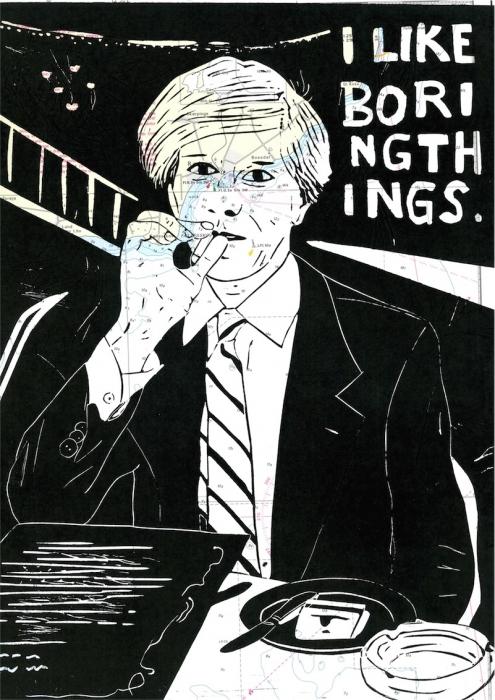 Linoldruck: Mann mit Zigarette 21 (auf Seekarte)