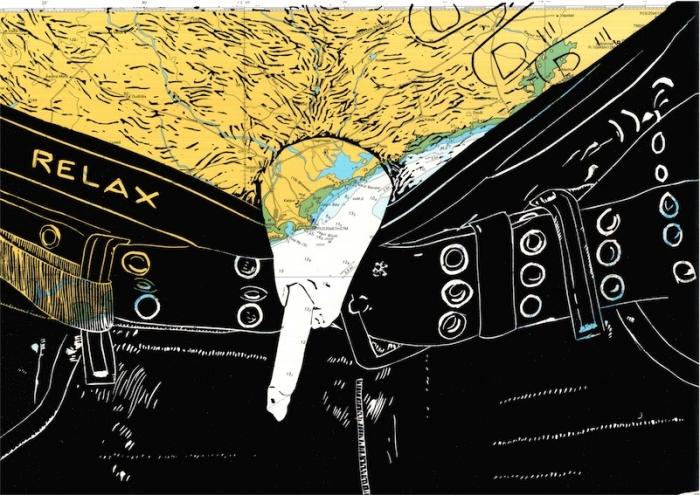 Linoldruck: Mann mit Zigarette 23 (auf Seekarte)