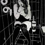 Linoldruck: Frau mit Zigarette 10 (auf Seekarte)
