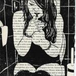 Linoldruck: Frau mit Zigarette 10 (auf Buchseite)
