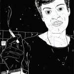 Linoldruck: Mann mit Zigarette 18 (auf Seekarte)