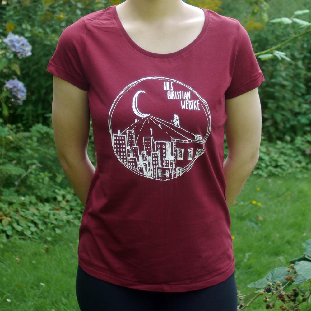 T-Shirt tailliert (weinrot)