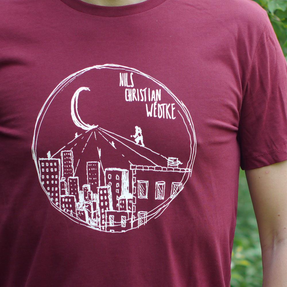 T-Shirt gerade (weinrot)